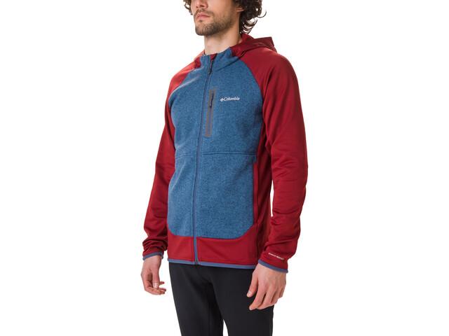 Columbia Altitude Aspect Veste à capuche Polaire Hybride Homme, red jasper/scout blue